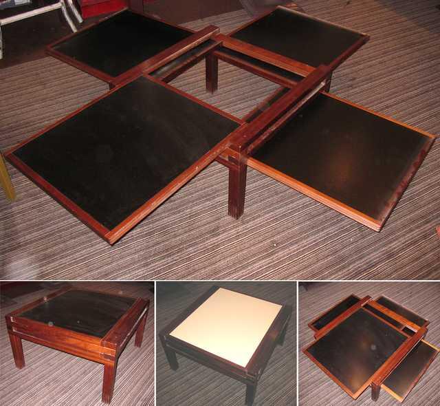 bernard et ariane vuarnesson table x 4 basse bois iroko plateaux noir et beige edite par sculpturee. Black Bedroom Furniture Sets. Home Design Ideas
