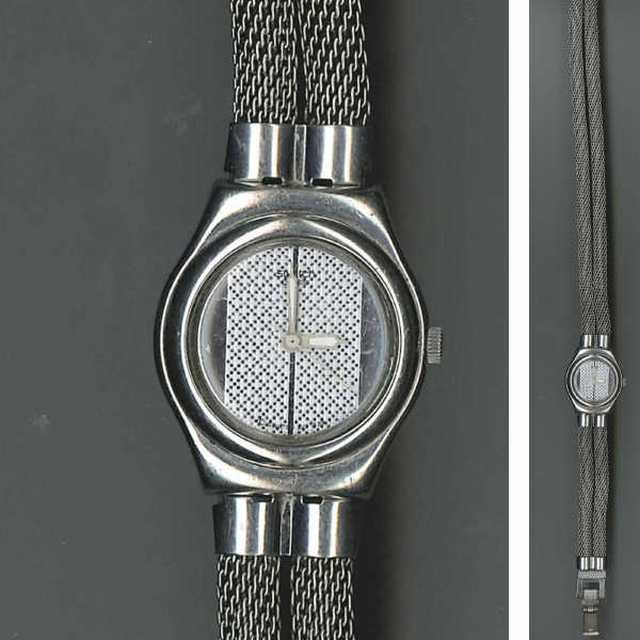 swatch modele irony montre de femme en acier a double bracelet mouvement a quartz. Black Bedroom Furniture Sets. Home Design Ideas