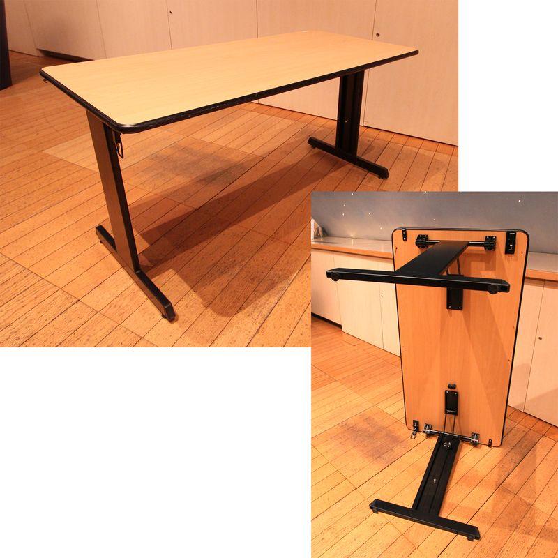 1 table pliante rectangulaire a pietement en metal noir le plateau a limitation du bois clipsable a. Black Bedroom Furniture Sets. Home Design Ideas