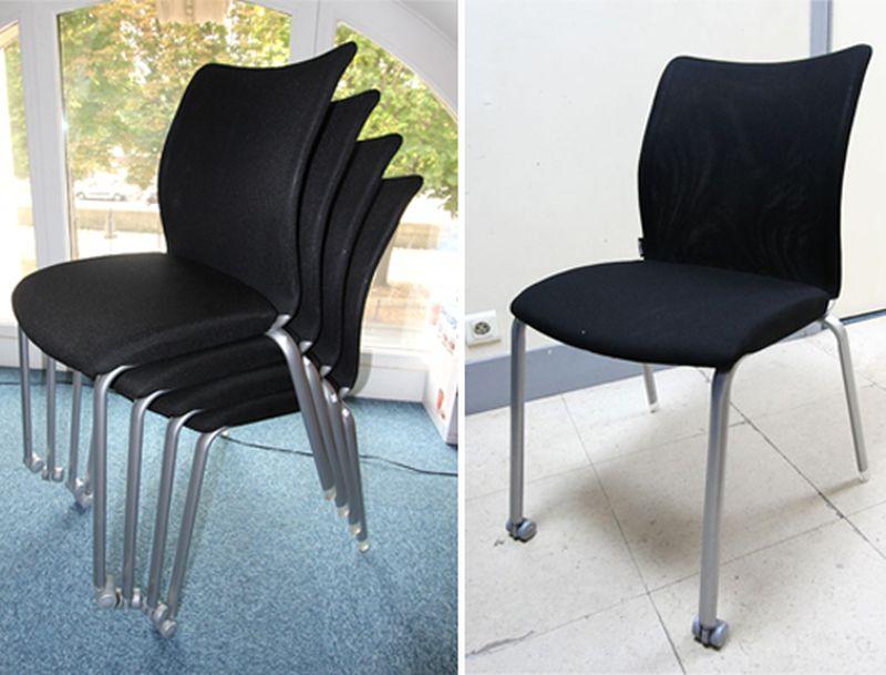 1 chaise empilable en tissu noir et pietement en metal for Chambre de commerce internationale de paris