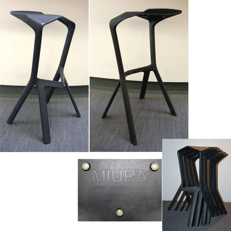 tabouret haut empilable en polypropilene noir modele miura design by konstantin grcic for plank mad. Black Bedroom Furniture Sets. Home Design Ideas
