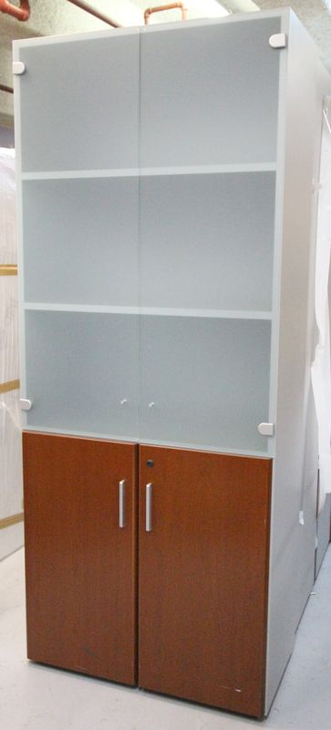 armoire vitrine 4 portes en verre sable et bois fonce 195. Black Bedroom Furniture Sets. Home Design Ideas