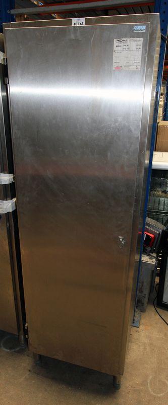 Armoire inox alimentaire une porte tournus dim 190x60x49 cm for Armoire cuisine inox