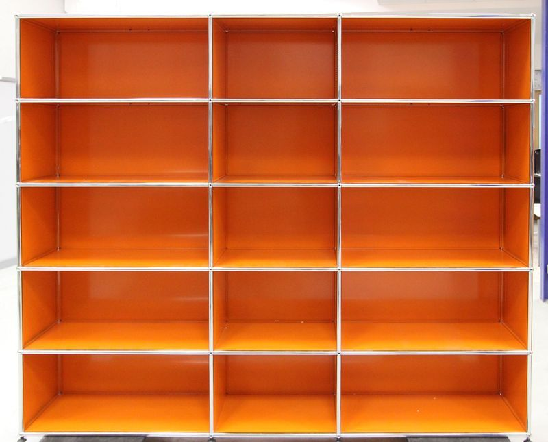 bibliotheque metallique orange de marque usm hauteur 180 largeur 200 profondeur 38 cm. Black Bedroom Furniture Sets. Home Design Ideas