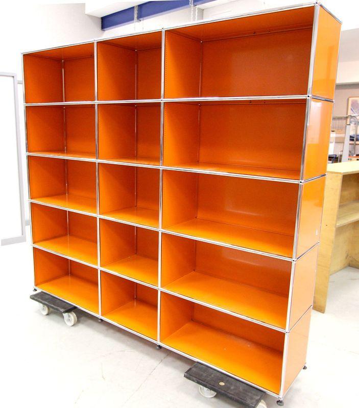 bibliotheque metallique orange de marque usm hauteur 180 largeur 200 profondeur 38 cm. Black Bedroom Furniture Sets. Home Design Ideas