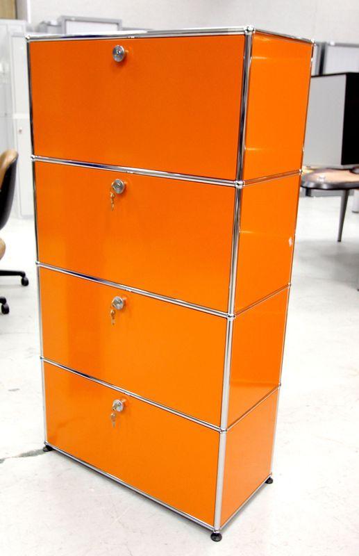 Meuble Metallique De Couleur Orange De Marque Usm Ouvrant