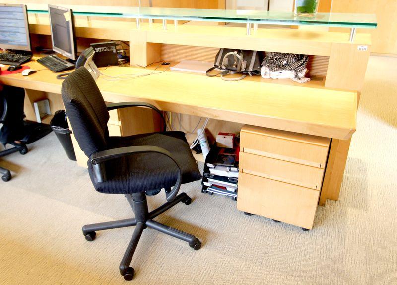 borne daccueil du 6e etage en bois blond et verre bleute hauteur 115 longueur 450 profondeur 90 cm. Black Bedroom Furniture Sets. Home Design Ideas