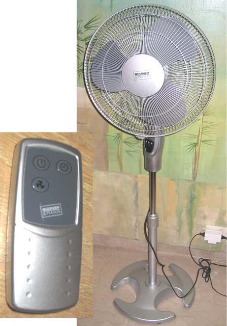 1 ventilateur sur pied de marque bodner et mann et sa telecommande. Black Bedroom Furniture Sets. Home Design Ideas