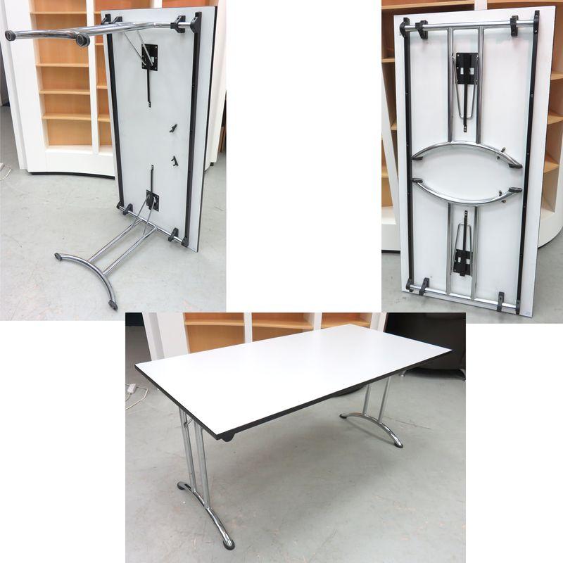 table pliante a plateau en melamine de couleur gris clair et pietement metal chrome dimensions plat. Black Bedroom Furniture Sets. Home Design Ideas