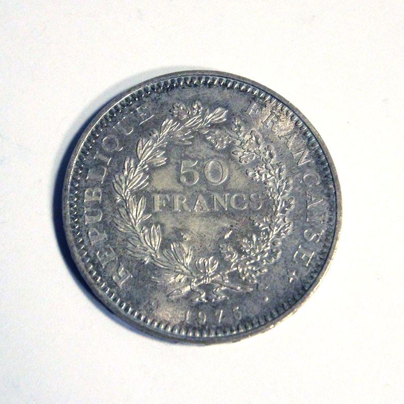 piece de 50 francs argent hercule avec piece de 5 franc argent la semeuse datee de 1975 dans leur b. Black Bedroom Furniture Sets. Home Design Ideas