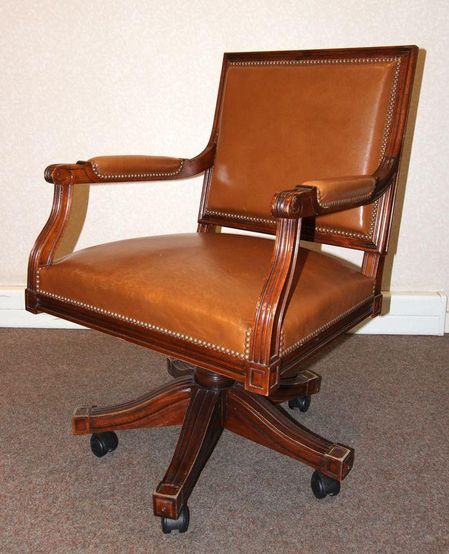 fauteuil de bureau de style louis xvi a dossier droit et. Black Bedroom Furniture Sets. Home Design Ideas