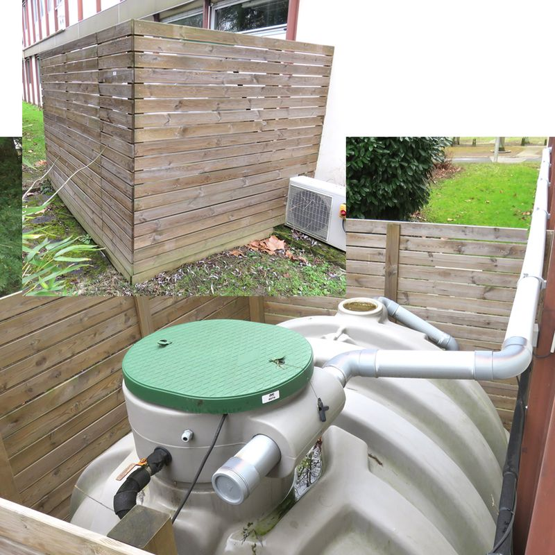 cuve recuperatrice eau de pluie en plastique 5 metres cubes soit 5000 litres vendue avec son bardag. Black Bedroom Furniture Sets. Home Design Ideas