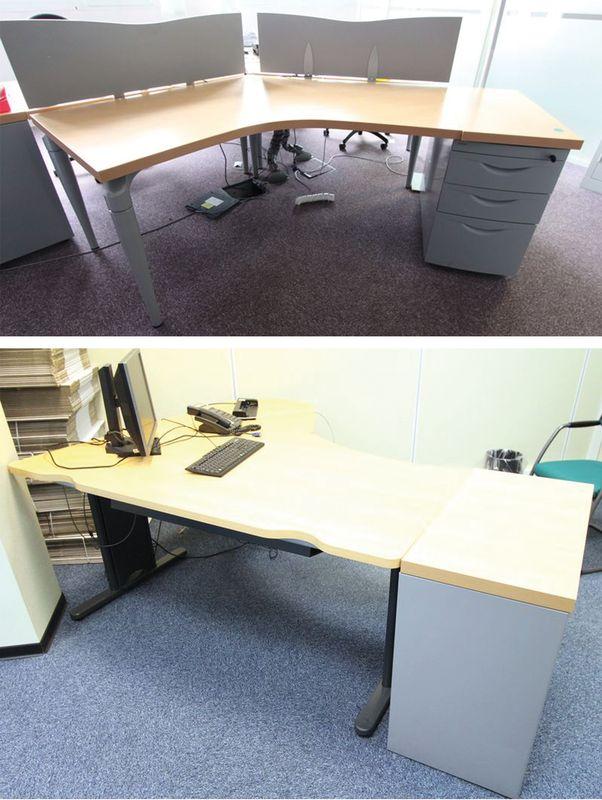 bureau dangle a 45 degres plateau en bois de couleur hetre plusieurs dimensions 140 x 120 140 x 140. Black Bedroom Furniture Sets. Home Design Ideas