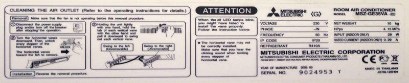 climatisation reversible murale de marque mitsubishi electric modele msz ge35va vendue avec son gro. Black Bedroom Furniture Sets. Home Design Ideas