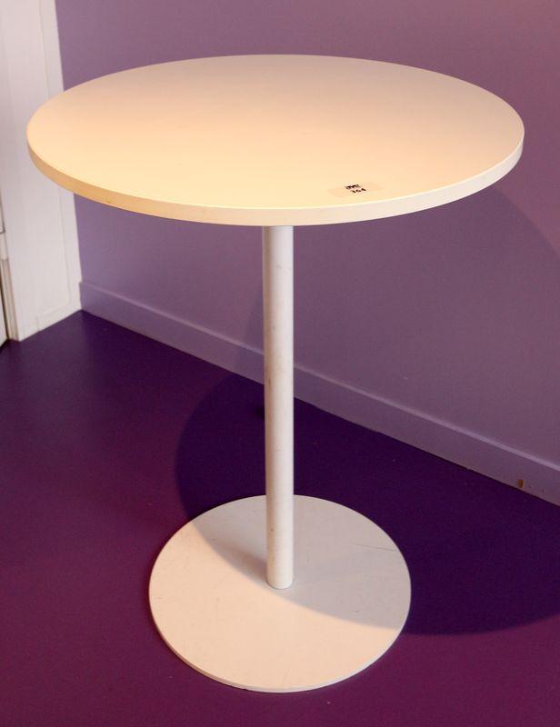 4 tables rondes blanches plateau en bois melamine. Black Bedroom Furniture Sets. Home Design Ideas