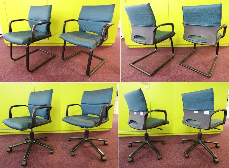 3 chaises visiteurs garnies de tissu vert et noir pietement luge metallique noir et 1 fauteuils gar. Black Bedroom Furniture Sets. Home Design Ideas