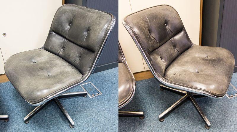 5 unites chaise de bureau a garniture de cuir noir capitonne reposant sur pietement etoile chrome m. Black Bedroom Furniture Sets. Home Design Ideas