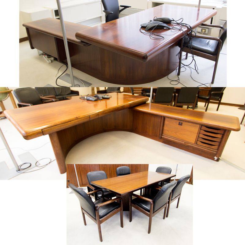 ensemble de mobilier de bureau de direction comprenant un bureau a bords arrondis en bois et placag. Black Bedroom Furniture Sets. Home Design Ideas