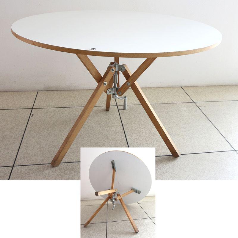 Table Ronde Diametre 100.Table Ronde En Bois Plateau Laque Blanc Pietement Ajustable