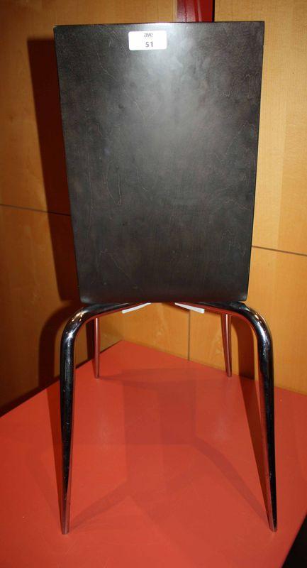 lot 51 1 unite chaise en bois wenge structure metallique chrome modele olly tango design philippe s. Black Bedroom Furniture Sets. Home Design Ideas