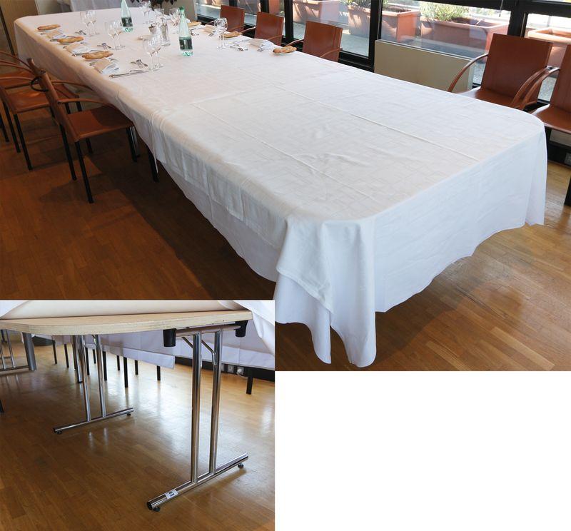 2 tables pliantes de traiteur en bois pietement metallique chrome formant un grande table rectangul. Black Bedroom Furniture Sets. Home Design Ideas