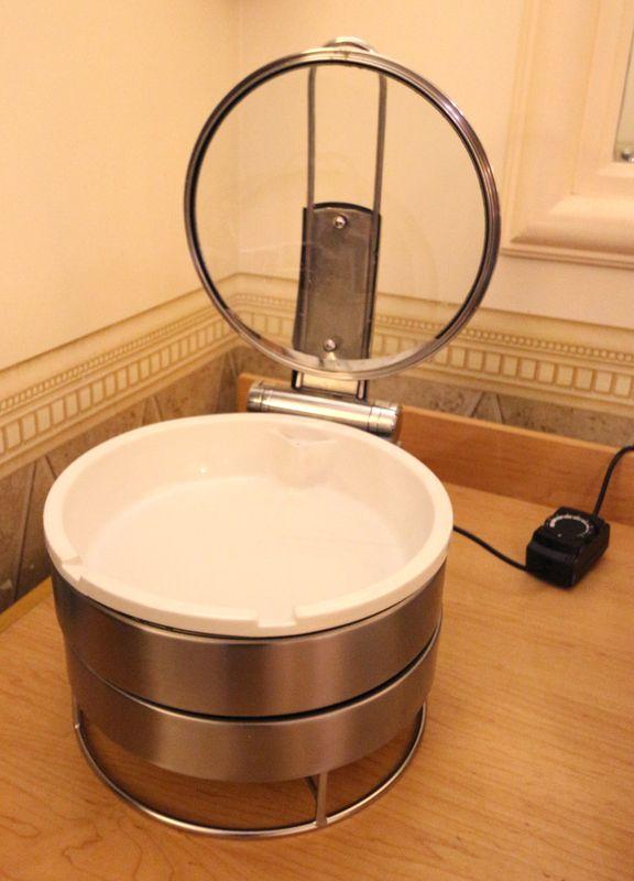 4 chauffe plat en bain marie electrique en inox et bac en porcelaine de marque guy degrenne reglage. Black Bedroom Furniture Sets. Home Design Ideas