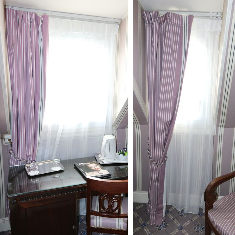 2 rideaux en tissu parme raye blanc 2 voilages blanc 4 tringles a rideaux coulissantes et paire dem. Black Bedroom Furniture Sets. Home Design Ideas