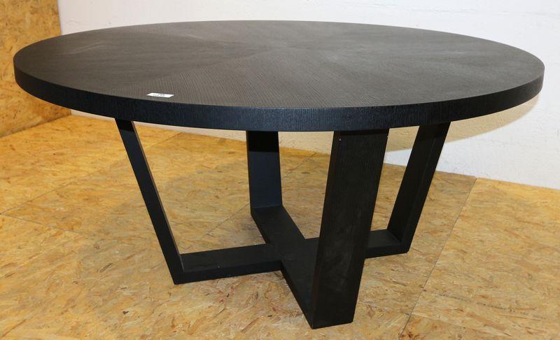 antonio citterio 1950 table ronde modele xilos a pietement en chene noir brosse et plateau en agglo. Black Bedroom Furniture Sets. Home Design Ideas