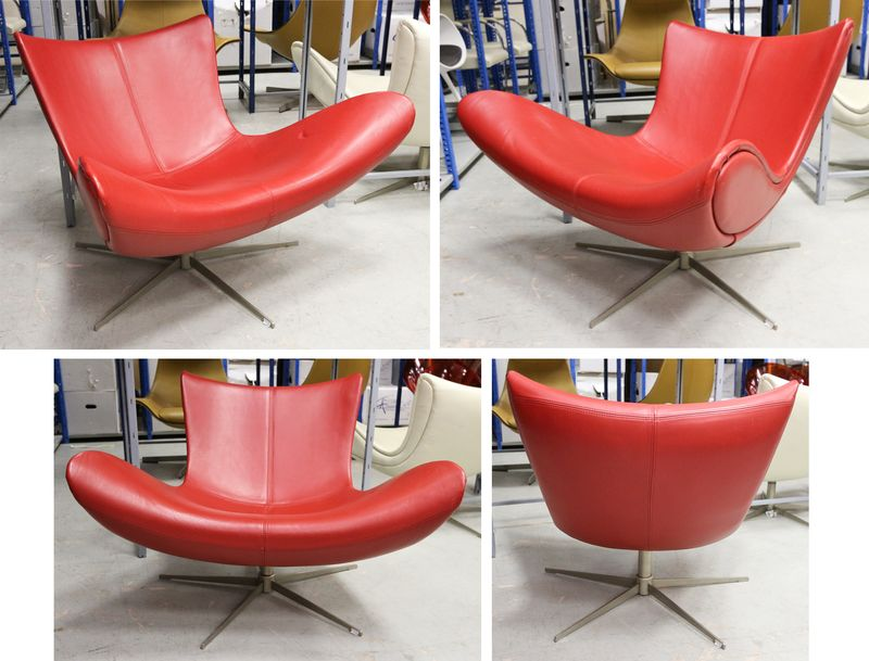 lot 24 2 unites fauteuils modele imola garni de cuir rouge. Black Bedroom Furniture Sets. Home Design Ideas