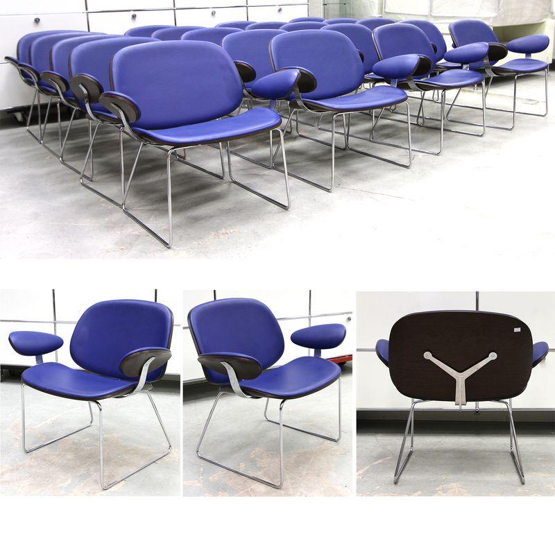 16 fauteuils a garniture simili cuir bleu roi et coque en