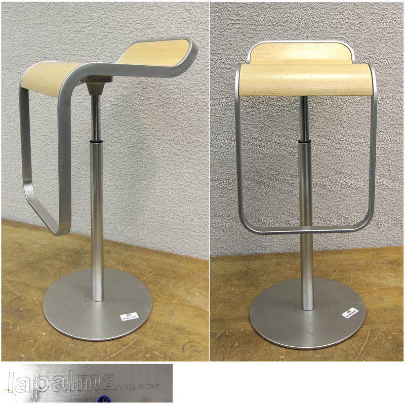 Lapalma 11 tabourets de bar en metal avec assise facon for Tabouret ajustable en hauteur