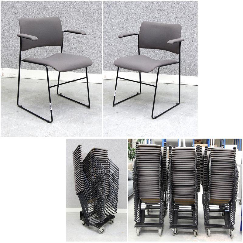 chaise empilable a pietement metallique noir et assise en tissu grisfonce ou gris clair 135 unites. Black Bedroom Furniture Sets. Home Design Ideas