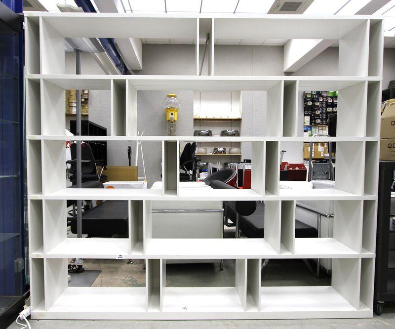 etagere a casier en melamine blanc comprenant 14 casiers. Black Bedroom Furniture Sets. Home Design Ideas