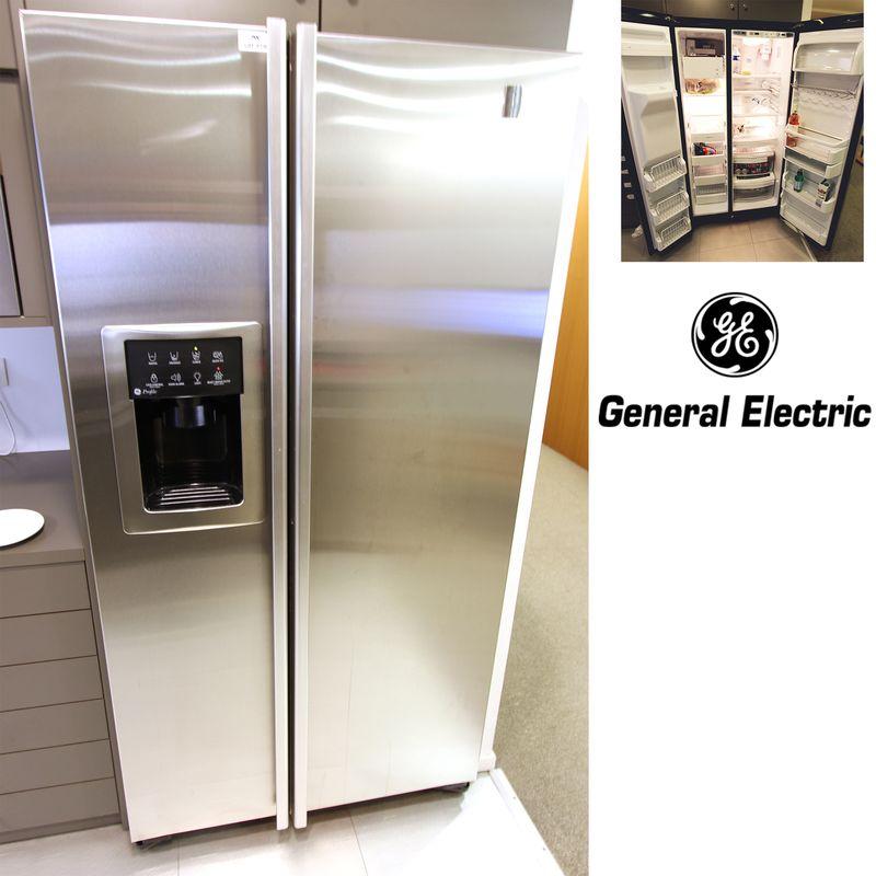 Refrigerateur americain ouvrant par deux portes facade inox de marque general electric modele pie23 - Refrigerateur americain 3 portes ...