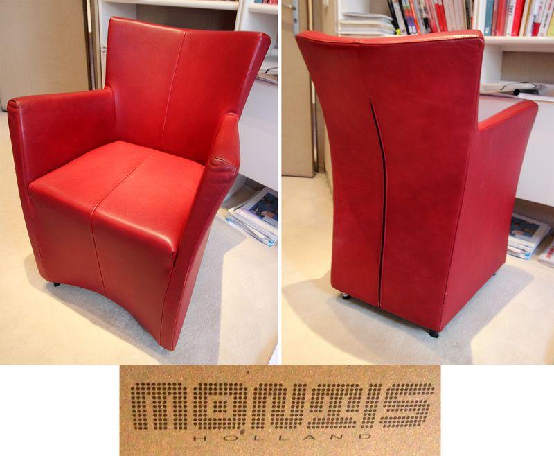 2 unites fauteuil a garniture de cuir rouge a montant plein reposant