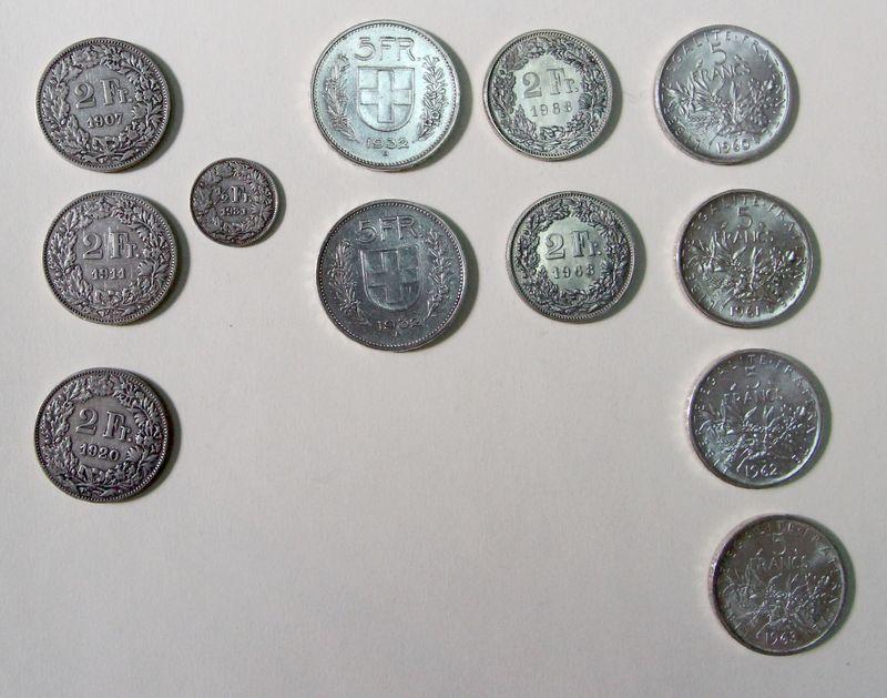 4 Pieces De 5 Francs Argent La Semeuse 1960196119621963 2 Piece De 5